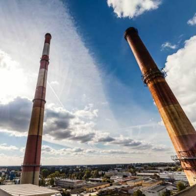 wysokościowy remont galerii, kosza i galerii na kominie elektrociepłowni